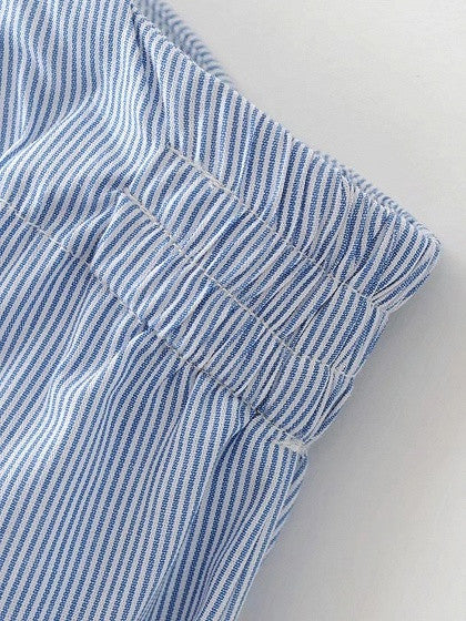 Blue Stripe One Shoulder Embroidery Detail Tie Front Blouse