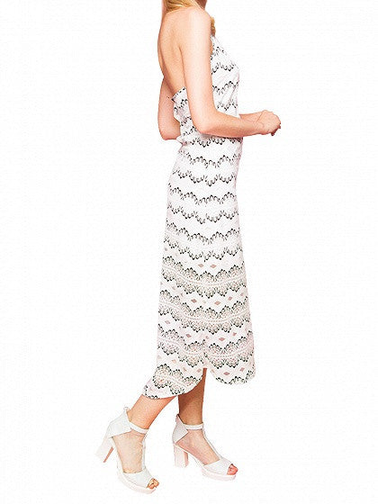 White Halter Cut Out Detail Backless Beach Dress