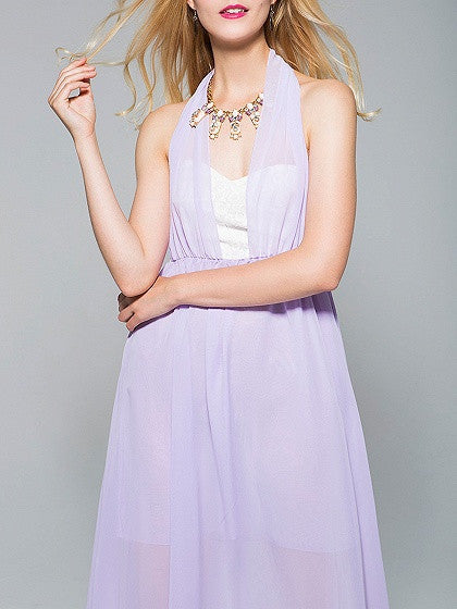 Purple Halter Sweetheart Backless Chiffon Dress