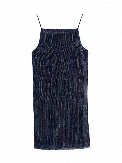 Navy Spaghetti Strap Cut Away Mini Dress