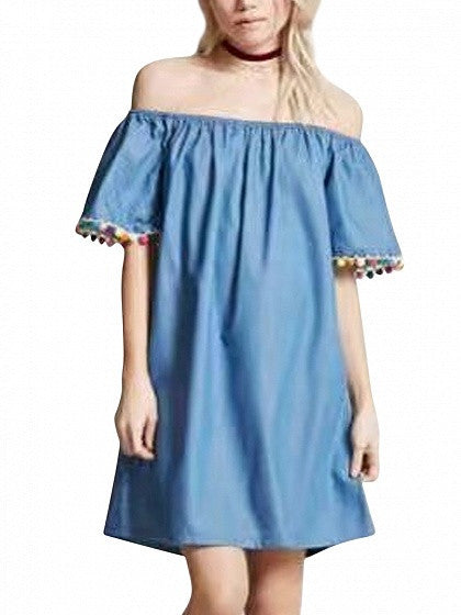 Blue Off Shoulder Pom Pom Shift Denim Dress