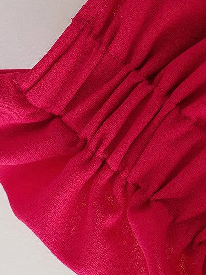 Red One Shoulder Ruffle Hem Blouse