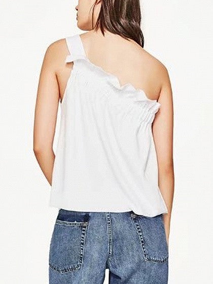 White One Shoulder Ruffle Hem Blouse