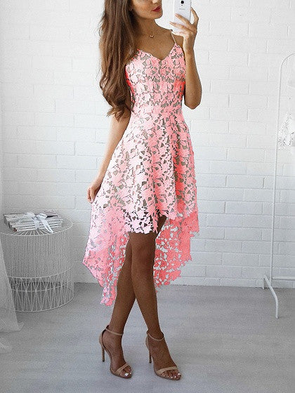 Pink V-neck Dipped Hem Spaghetti Straps Lace Dress