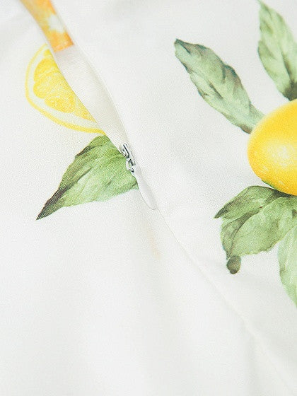Polychrome V-neck Lemon Print Cami Crop Top And Ruffle Skirt
