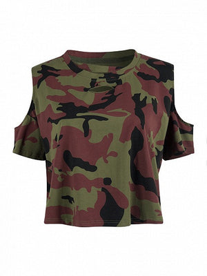 Green Camo Cold Shoulder Oversized T-shirt