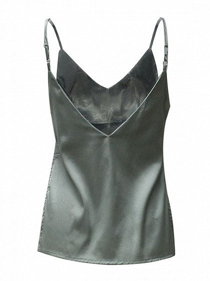 Gray V Front and Back Satin Side Split Cami Top