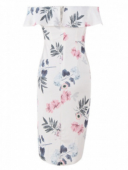 White Off Shoulder Floral Print Tulip Asymetric Dress
