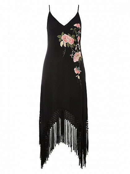 Black Floral Embroidery Fringe Hem Spaghetti Strap Dress