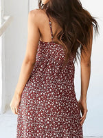 Red Floral Print Tie Waist Wrap Cami Maxi Dress