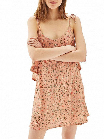 Polychrome Floral Layered Top Backless Spaghetti Strap Mini Dress