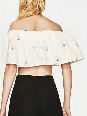 White Off Shoulder Embroidery Floral Layered Crop Top