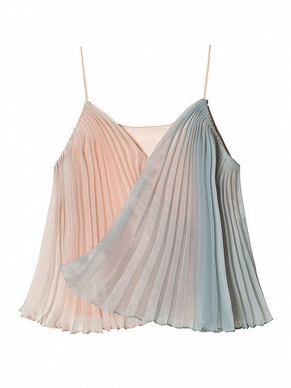 Color Block V-neck  Wrap Front Pleated Cami Top