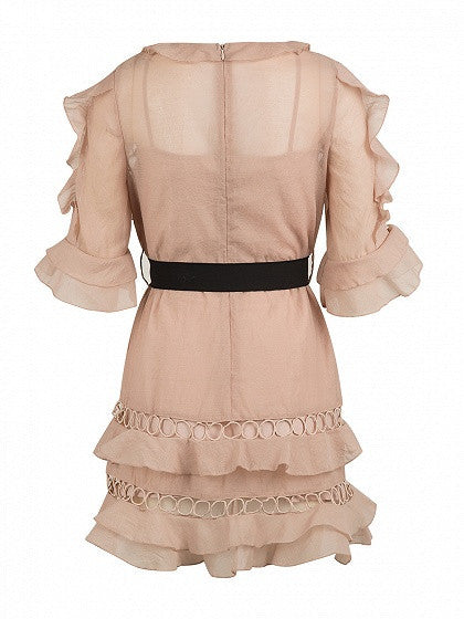 Pink Half Sleeve Ruffle Cut Out Bowknot Waist Mini Dress