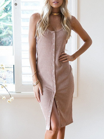 Nude Pink Rib Button Front Cami Bodycon Dress