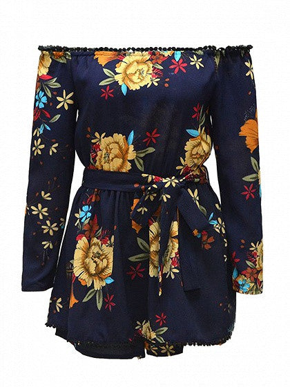 Navy Off Shoulder Floral Print Pom Pom Trim Romper Playsuit