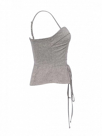 Gray Houndstooth Eyelet Lace Up Front Sweetheart Cami Top