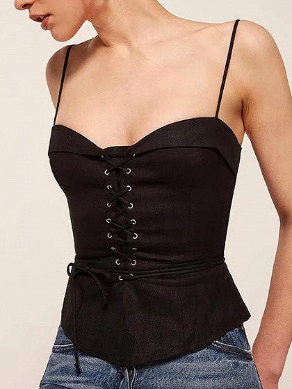 Black Eyelet Lace Up Front Sweetheart Cami Top