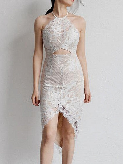 White Halter Open Belly Asymmetric Hem Lace Dress
