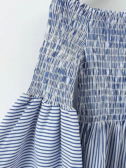 Blue Stripe Stretch Off Shoulder Flared Sleeve Mini Dress