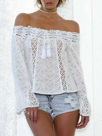 398ca32c805d4 White Off Shoulder Bell Sleeve Cutwork Lace Panel Top – chiclookcloset