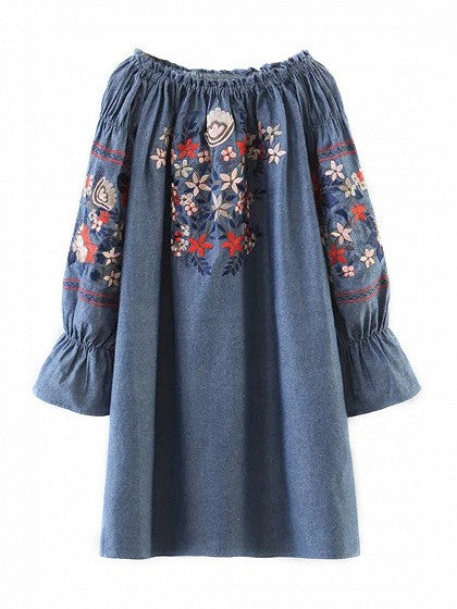 Blue Off Shoulder Embroidery Floral Flared Sleeve Denim Mini Dress
