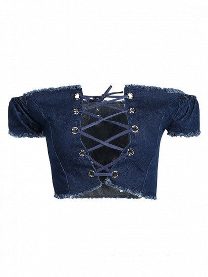 Blue Off Shoulder Lace Up Front Denim Crop Top