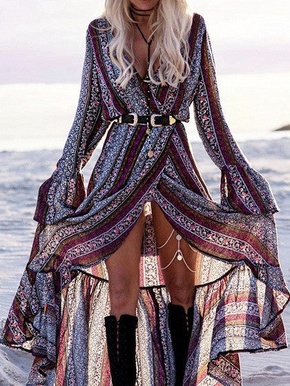 Polychrome Geo-Tribal Print Tie Wrap Bell Sleeve Maxi Dress