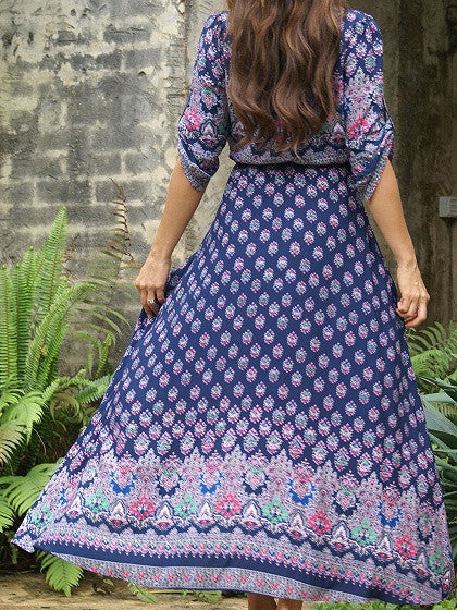 Dark Blue Boho Floral Print Button Front Maxi Dress