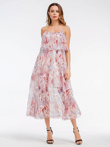 Polychrome Printed Ruffle Cami Chiffon Midi Dress