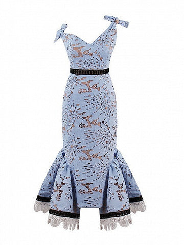 Blue V-neck Bow Shoulder Midi Pephem Lace Bodycon Dress