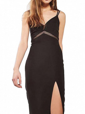 Black V-neck Mesh Paneled Side Split Spaghetti Strap Bodycon Dress