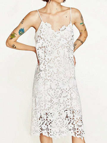 White V-neck Spaghetti Strap Cutwork Lace Midi Dress