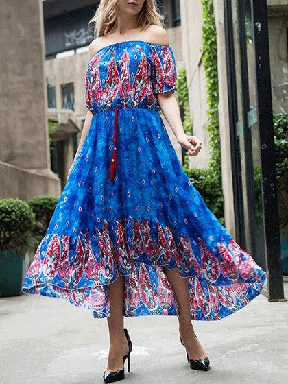 Royal Blue Off Shoulder Tribal Print Hi-lo Maxi Dress