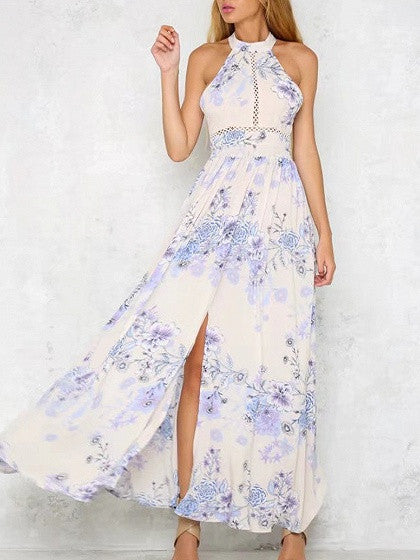 Polychrome Halter Floral Backless Tie Back Side Split Maxi Dress