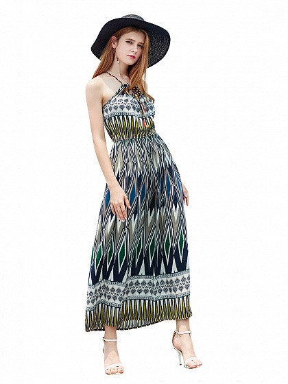 Yellow Geo Print Tie Front Spaghetti Strap Beach Maxi Dress
