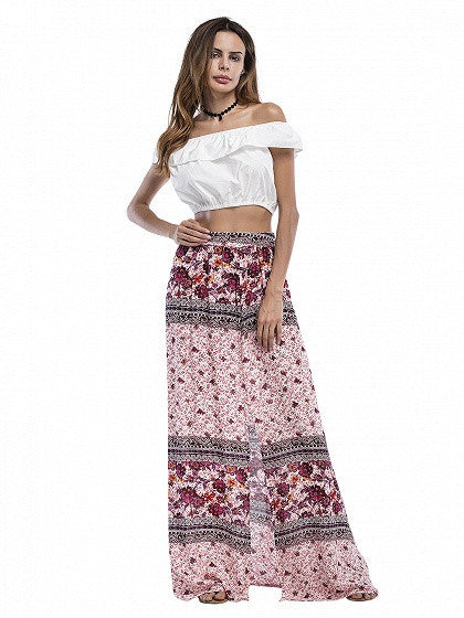 Pink High Waist Floral Front Split Maxi Skirt