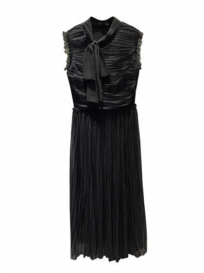 Black Tie Neck Sleeveless Ruched Tulle Maxi Dress