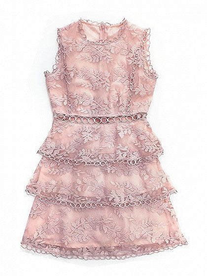Pink Cut Out Detail Sleeveless Layered Sheer Lace Dress