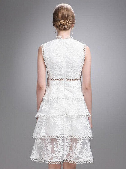White Cut Out Detail Sleeveless Layered Sheer Lace Dress