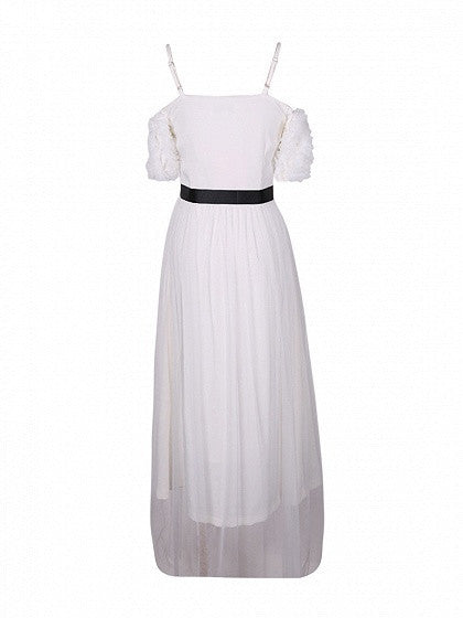White Cold Shoulder Tie Waist Tulle Overlay Maxi Dress
