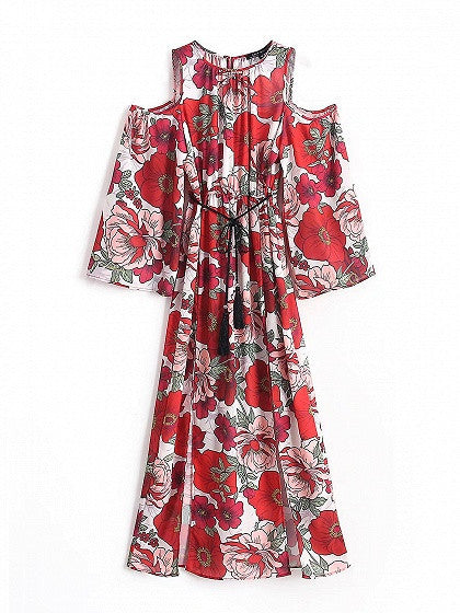 Red Floral Cold Shoulder Long Sleeve Side Split Maxi Dress