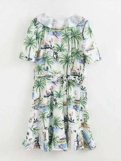 Polychrome Short Sleeve Coconut Trees Print V-neck Ruffle Hem Dress
