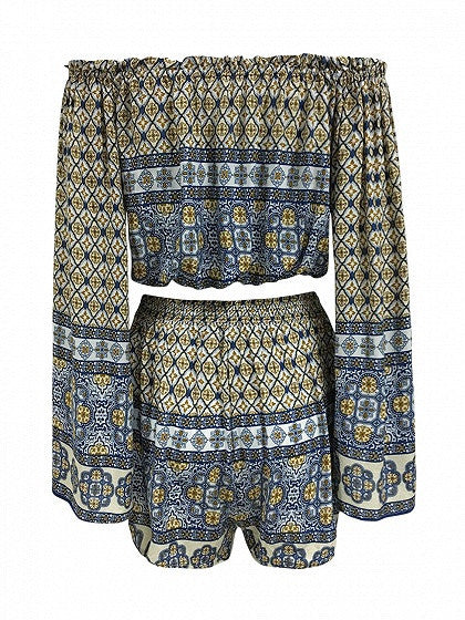 Multicolor Off Shoulder Geo-tribal Flared Long Sleeve Beach Crop Top And Shorts