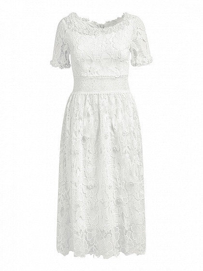 White Short Sleeve High Waist Floral Crochet Lace Midi Dress