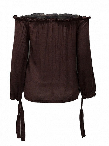 Brown Off Shoulder Lace Up Slit Sleeve Tie Cuff Blouse