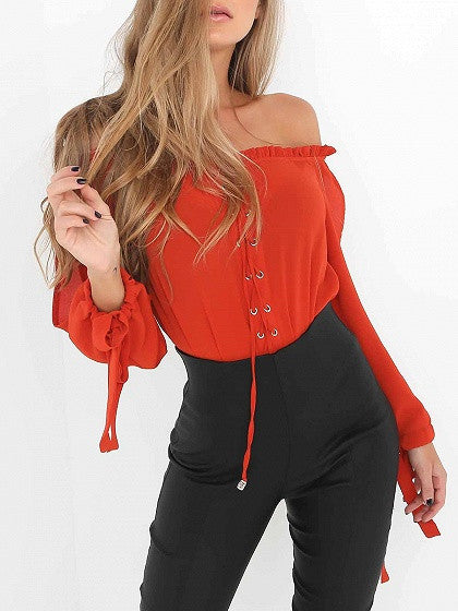 Red Off Shoulder Lace Up Slit Sleeve Tie Cuff Blouse