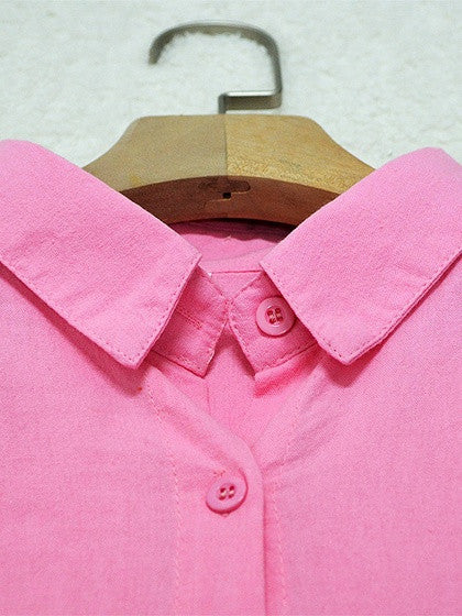 Pink Pocket Long Sleeve Shirt