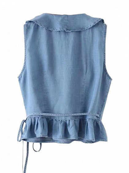 Blue V Neck Ruffle Trim Sleeveless Denim Top