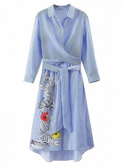 Blue Stripe Floral Print Tie Waist Long Sleeve Shirt Dress